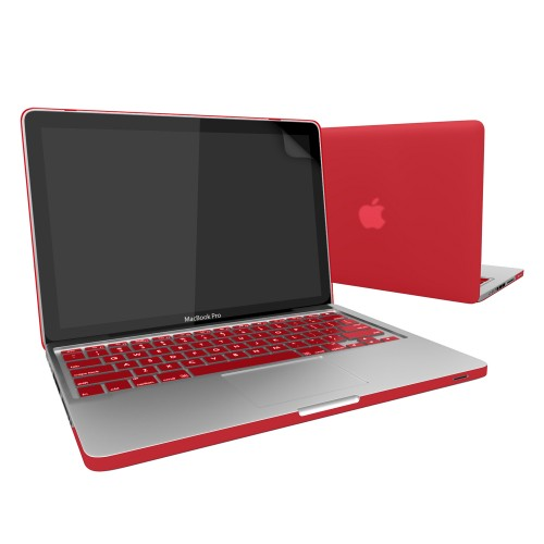 Rubberized Hard Case for Macbook Pro® 13 with Screen Protector Red
