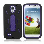 Black Purple Hybrid Hard Case Cover For Samsung Galaxy S©4