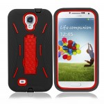Black Red Hybrid Hard Case Cover For Samsung Galaxy S©4