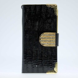 Luxury Leather Bling Wallet Magnetic Flip Case for iPhone® 5S Black