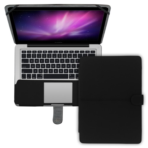 "Premium Suede Leather Clip On Folio Case for MacBook Pro 13"""" (A1278) - Black"