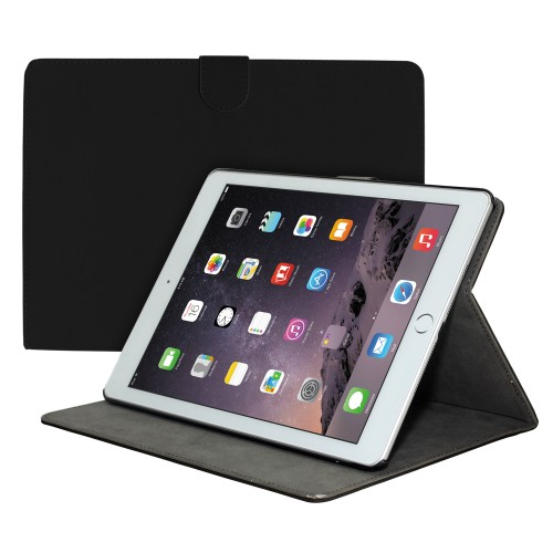 Premium Suede Leather Smart Stand Folio Case for Apple iPad Air-2 - Black