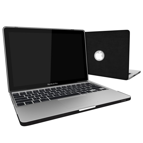 Leatherette Case With Keyboard Cover for Macbook Pro 13 inch - Black