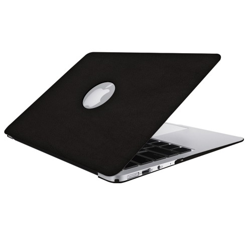 Leatherette Case With Keyboard Cover for Macbook Air 13 inch - Black