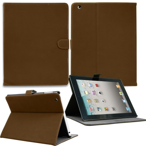 Luxury Leather Smart Case for Apple ipad mini Brown
