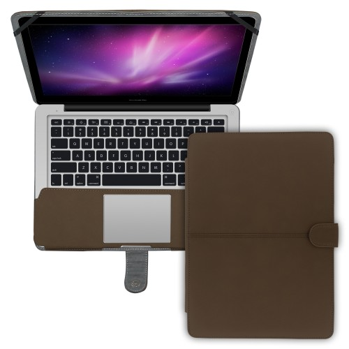 "Premium Suede Leather Clip On Folio Case for MacBook Pro 13"""" (A1278) - Orange"