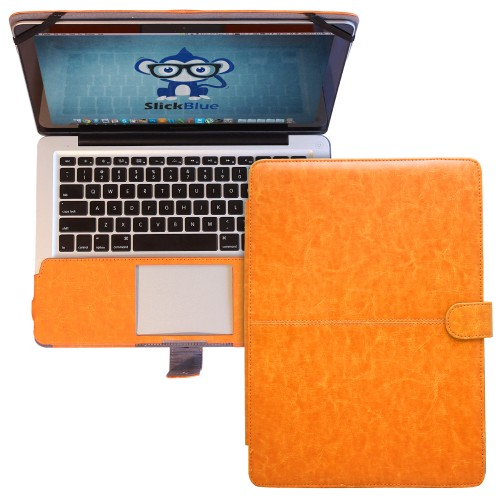 "Premium PU Leather Clip On Folio Case for MacBook Pro 13"""" (A1278) - Orange"