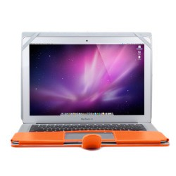"Premium PU Leather Clip On Folio Case for MacBook Air 13"" (A1369/A1466) - Orange"