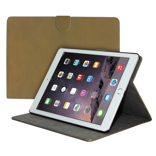 Premium Suede Leather Smart Stand Folio Case for Apple iPad Air-2 - Light Brown
