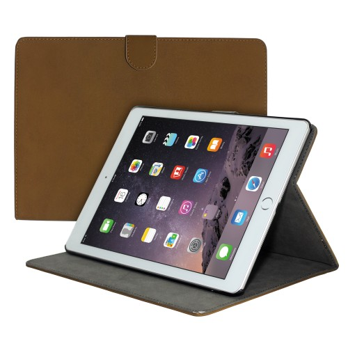 Premium Suede Leather Smart Stand Folio Case for Apple iPad Air-2 - Dark Brown
