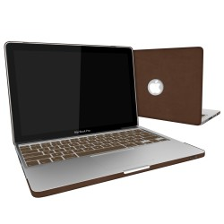 Leatherette Case With Keyboard Cover for Macbook Pro 13 inch - Brown