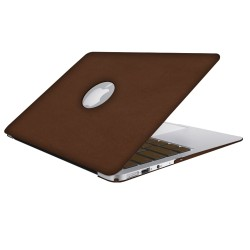 Leatherette Case With Keyboard Cover for Macbook Air 13 inch - Brown