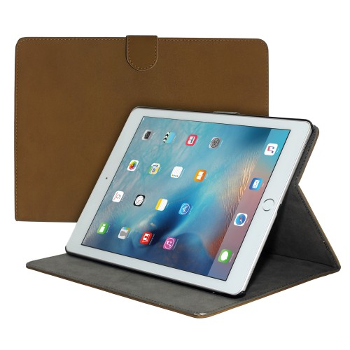 "Premium Suede Leather Smart Stand Folio Case for Apple iPad Pro 12.9"""" - Dark Brown"