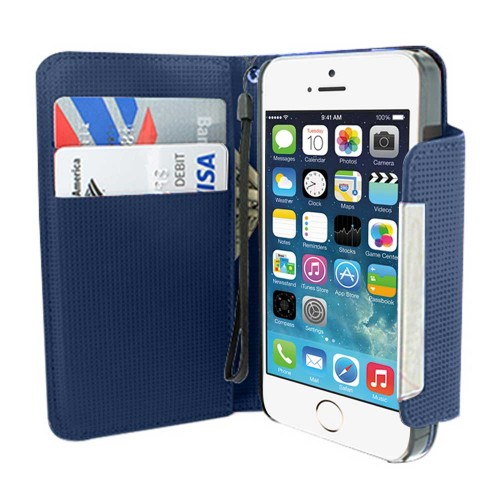 Leather Wallet Case for Apple® iPhone® 5 5s Blue