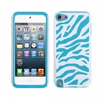 Blue White Zebra Hybrid Case Cover For Apple iPod 5