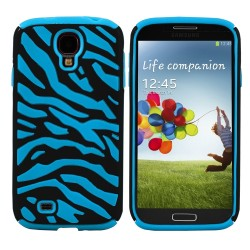 Blue Black Zebra Hybrid Case Cover For Samsung Galaxy S©4