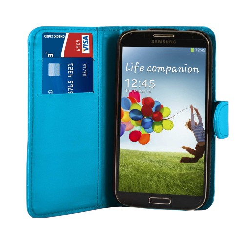 Light Blue Leather Wallet Case Cover For Samsung Galaxy S©4