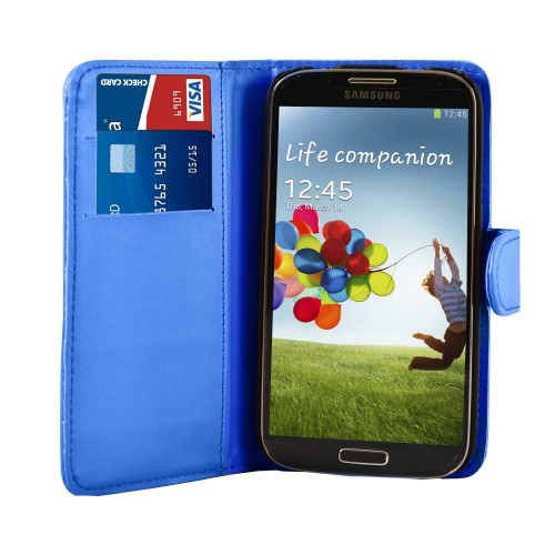 Royal Blue Leather Wallet Case Cover For Samsung Galaxy S©4