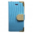 Luxury Leather Bling Wallet Magnetic Flip Case for iPhone® 5S Blue