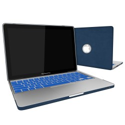 Leatherette Case With Keyboard Cover for Macbook Pro 13 inch - Blue