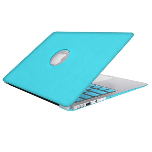 Leatherette Case With Keyboard Cover for Macbook Air 13 inch - Turquoise Blue