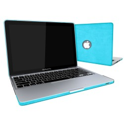 Leatherette Case With Keyboard Cover for Macbook Pro 13 inch - Turquoise Blue