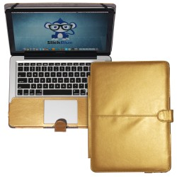 "Premium PU Leather Clip On Folio Case for MacBook Pro 13"" (A1278) - Champagne Gold"