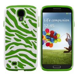 Green White Zebra Hybrid Case Cover For Samsung Galaxy S©4
