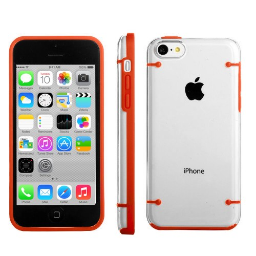 Transparent Clear Hard TPU Gel Case For Apple® iPhone® 5C Orange
