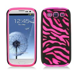pink black hybrid rubberized case cover for SAMSUNG Galaxy s©3