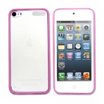 Hot Pink Rubberized Hard Transparent Back Case Cover For Apple® iPod Touch® 5