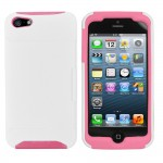 Hybrid Card Holder Case for Apple® iPhone® 5 White Pink