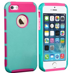 Hybrid Rugged Rubber Matte Hard Case For Apple® iPhone® 5 5S Pink Teal