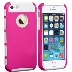 Hybrid Rubber Matte Hard Case For Apple® iPhone® 5 5S Pink White