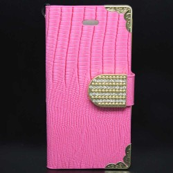 Luxury Leather Bling Wallet Magnetic Flip Case for iPhone® 5S Pink