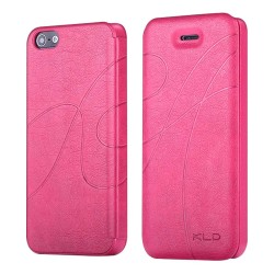 KLD Leather Wallet Flip Case for iPhone® 5S Hot Pink