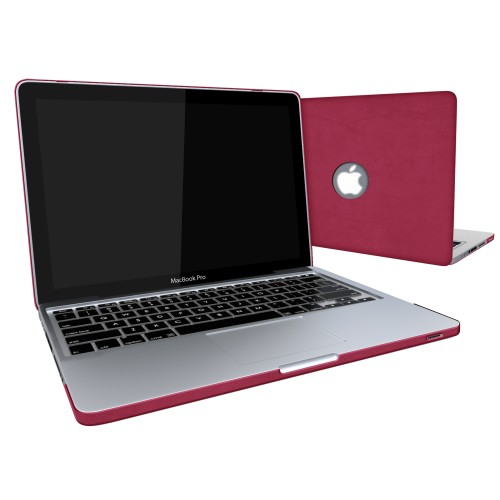 Leatherette Case With Keyboard Cover for Macbook Pro 13 inch - Hot Pink