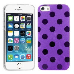 Crystal Hard Polka Dots Case for apple® iPhone® 5 5s Purple Black