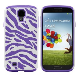 Purple White Zebra Hybrid Case Cover For Samsung Galaxy S©4
