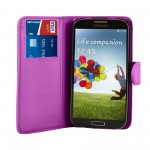 Purple Leather Wallet Case Cover For Samsung Galaxy S©4