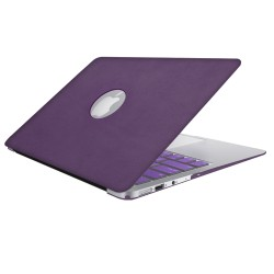 Leatherette Case With Keyboard Cover for Macbook Air 13 inch - Purple