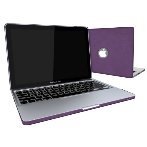 Leatherette Case With Keyboard Cover for Macbook Pro 13 inch - Purple