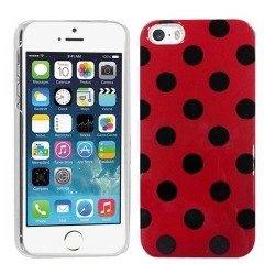 Crystal Hard Polka Dots Case for apple® iPhone® 5 5s Red Black