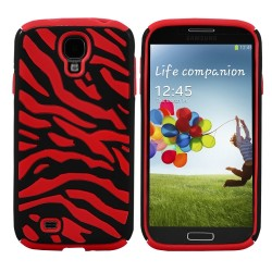 Red Black Zebra Hybrid Case Cover For Samsung Galaxy S©4