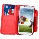 Red PU Leather Wallet Case For Samsung Galaxy S©4