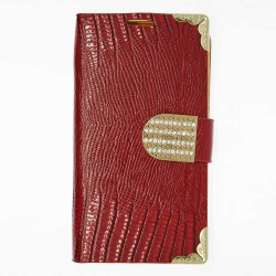 Luxury Leather Bling Wallet Magnetic Flip Case for Samsung Galaxy S©4 Red