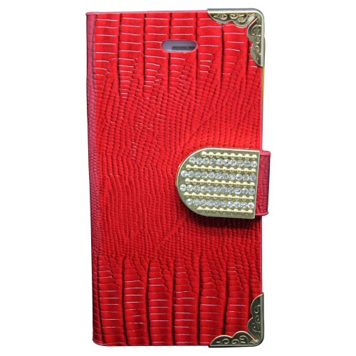 Luxury Leather Bling Wallet Magnetic Flip Case for iPhone® 5S Red
