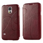 KLD Leather Wallet Flip Case for Samsung Galaxy S©5 Wine Red