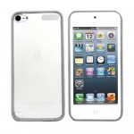 White Rubberized Hard Transparent Back Case Cover For Apple® iPod Touch® 5