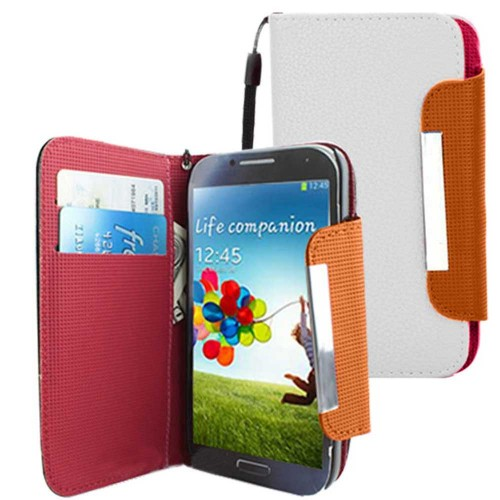 PU Leather Wallet Case For Samsung Galaxy S©4 White